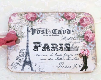 Paris Vintage Boot Tags ,French Gift Favor Tags, Vintage French , Eiffel Tower Tags , Rose Tags , Birthday, Bridal Shower, High Tea Party