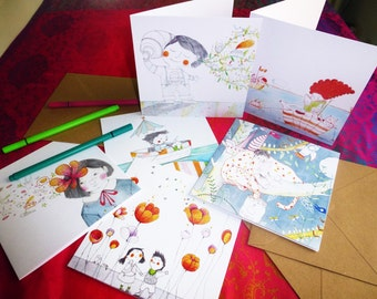 set of 3 greetings cards, Birthday Cards original illustrations
