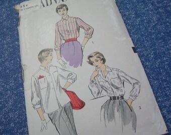 1950's Misses Blouse - Advance Pattern 6748 - Size 14, Bust 32