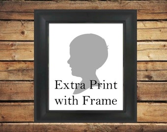 Custom Silhouette Framed Extra Print - 8x10 Black Frame - Great for adding to orders for multiple family members gifts