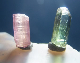 2 Tourmaline crystals - pink green bi color bicolor raw rough natural terminated gemmy - coyoterainbow small specimen stone gem B22G