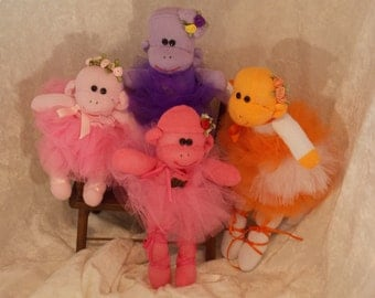 Handmade Sock Monkey, Recycled Baby Socks with Crocheted Cupcake Patch, Mini Ballerina Monkey, OOAK, Doll Toy Plush Stuffed Animal Amigurumi