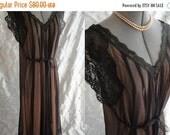 ON SALE 50s 60s Lingerie // Vintage 1950s 1960s Black Blush Illusion Nightgown Size S M