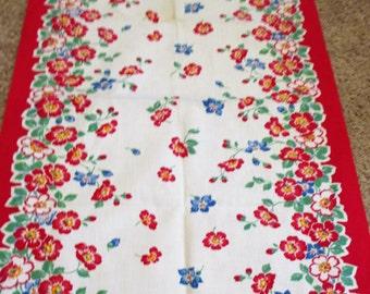Vintage Kitchen Towel - Red Floral Border Print