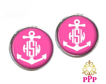 Monogram Earrings Pink Anchor Glass  (510)