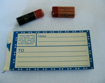 Vintage Office Supplies, Mail Labels and 2 Packages With Lead and Erasers for Pencils