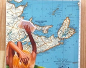 "ON SALE Summer Reading & Nova Scotia, PEI, New Brunswick Map Collage on 6""x6"" wood block by Daina Scarola"