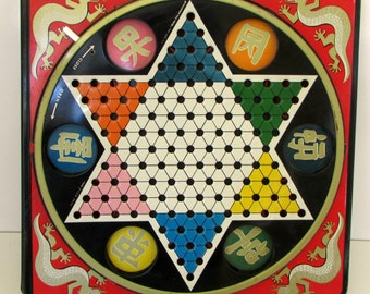 Vintage 1950s Hop Ching Chinese Checker Board wth Sliding Marble storage Metal Board Pressman Toy Co