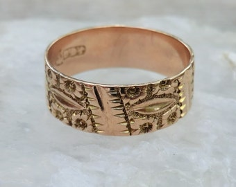 Victorian Band 9K Gold Wedding Band Stacking Ring Cigar Band ca 1900 Size 7.5