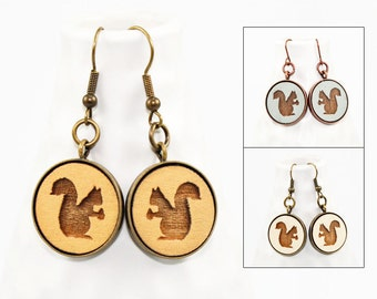 Squirrel Earrings - Laser Engraved Wood (Choose Your Color)
