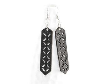 Laser Cut Leather Earrings - Geometric Crisscross Pattern (Black)