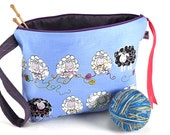 Large Knitting Crochet Project Bag Clutch *With Yarn Guide* - Knitty Sheep