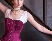 """Victorian Hourglass Corset in rich fuschia silk satin, mid-bust SAMPLE corset in size XS, 22"""" waist featuring cording, flossing, front busk"""