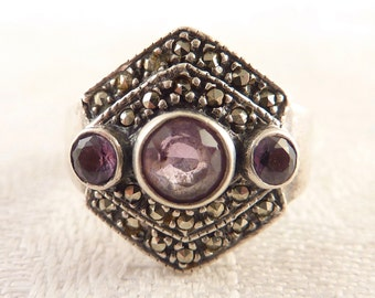SALE --- Vintage Size 5.5 Sterling and Marcasite Triple Amethyst Gemstone Ring