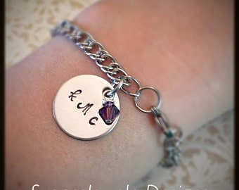 Monogram Charm Bracelet - stainless steel bracelet and 1 sided disc - Swarovski pearl or crystal
