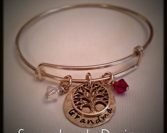 Name Bangle Bracelet - yellow gold filled bracelet and 1-sided disc - bronze tree of life charm - your choice of Swarovski crystals / pearls