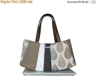 On Sale LOOSE LEAF TEA Large Satchel / autumn fall purse grey silver taupe tan leaf leaves houndstooth autumn neutral fall bag by jennjohn