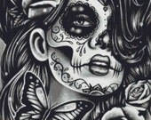 Dia De Los Muertos Cross Stitch Kit by Carissa Rose 'Epiphany' Sugar Skull Cross Stitch