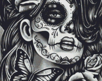 Dia De Los Muertos Cross Stitch Kit by Carissa Rose 'Epiphany' Sugar Skull Cross Stitch