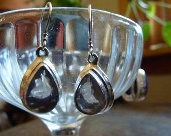 Large teardrop amethyst earrings