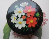 1950's Vintage Tin * Popular Riley's Tin Box * Round Vintage Tin * Flowers * Pink and Black Tin