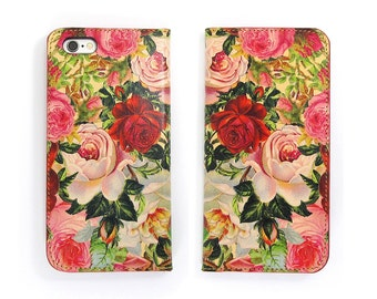 Leather iPhone 7 case, Galaxy S6 Case, iPhone 6s Case, iPhone 6s Plus Case, iPhone 5/5s Case - Decoupage Roses (Exclusive Range)