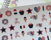SALE Planner Stickers July 4th Set Life Planner Plum Paper Planners  Scrapbook