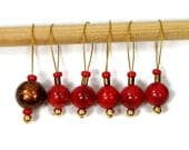 Stitch Markers Snagless Knitting Tools Beaded Red Bronze Brown