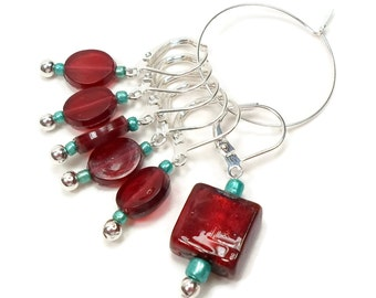 Removable Stitch Markers Crochet Row Markers Red Turquoise Locking Knitting Supplies DIY Crafts