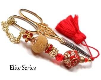 Red Gold Scissor Fob Beaded Scissor Keeper Scissor Minder Elite Series Needlepoint Quilting Sewing Cross Stitch Crafts