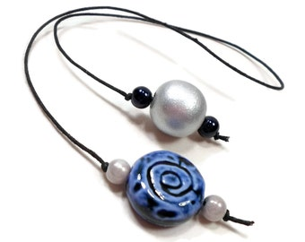 Book Thong Beaded Bookmark Book Cord Book String Gift under 5 Navy Blue Silver Book Club Teacher Gift