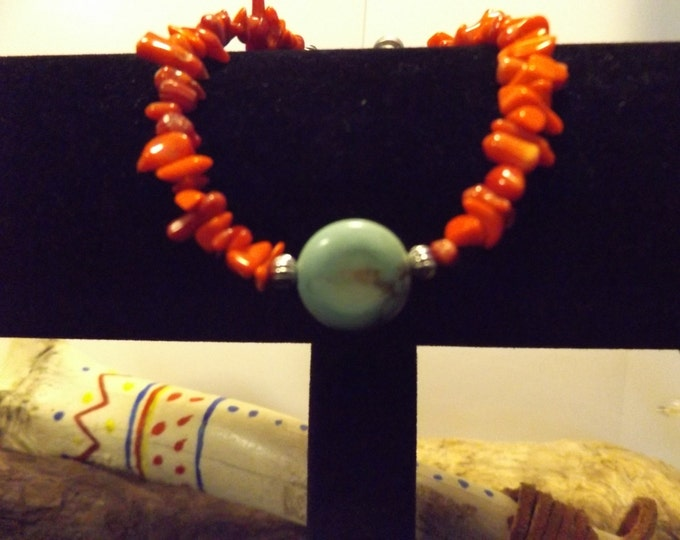 Turquoise and Coral Bracelet, Crystal and Gemstone Jewelry, Handmade Jewelry, Spiritual Jewelry, Native American inspired Jewelry