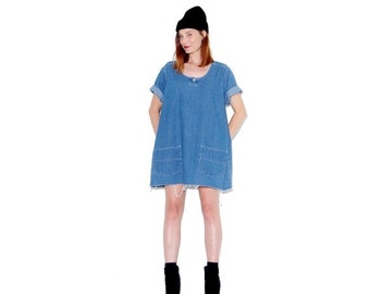 OMG HALF OFF Minimalist Dream Dress / oversized dress jean dress denim dress tunic dress shirt dress jumper ripped jeans distressed jeans