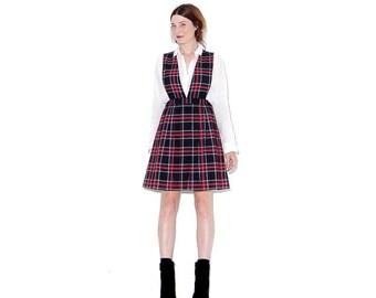 WTF HALF OFF 90s School Girl Dress xs // plaid dress schoolgirl dress uniform overall dress pinafore dress jumper dress 90s clothing
