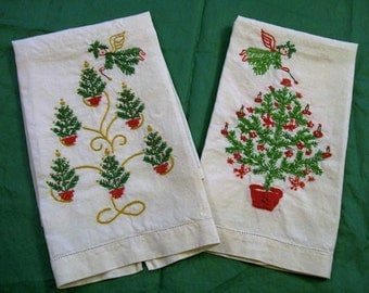 Christmas Towels, Hand embroidery, Set of Towels, Christmas towel, Christmas Tea Towels, Guest Towels, Chrisrtmas Angels, Christmas