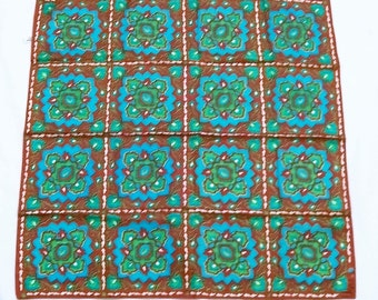 VERA Scarf, Made in Japan, Vintage VERA Scarf, Nylon Scarf, Vera Neumann, Scarf, turquoise color