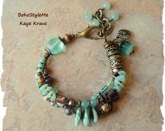 Boho Bracelet, Rustic Beaded Bracelet, Rocky Ocean Shoreline, Handmade Bohemian Jewelry, BohoStyleMe, Kaye Kraus