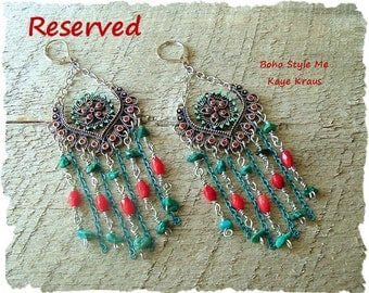 Reserved - Boho Southwest Earrings, Chandelier Earrings, Turquoise Jewelry, Wire Wrapped, Boho Style Me, Kaye Kraus