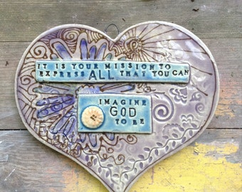 Purple stoneware heart tile with an affirmation