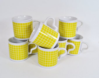 Set of 9 Vintage Yellow Check Mugs - Sunny Kitchen Decor