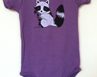 Organic Cotton Onesie Babies Raccoon on Aubergine or T Shirt Ages 2T and 4