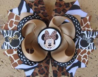 Minnie Mouse Safari Animal Print Hairbow Zebra Leopard Boutique Hair Bow for Disney Animal Kingdom Vacation