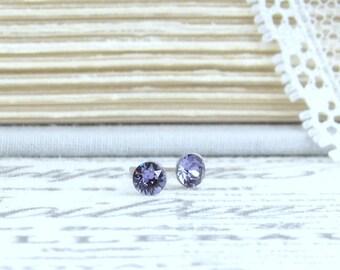 Tiny Purple Studs 4mm Studs Purple Crystal Stud Earrings Tiny Crystal Studs Surgical Steel Studs
