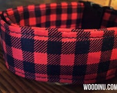 Buffalo Plaid Dog Collar-  Dog Collar Available in Five Sizes - Dog Collar Red and Black Plaid - Buffalo Dog Collar -  Adjustable Dog Collar