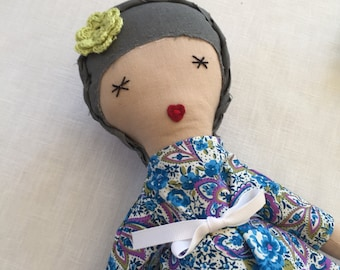 Fabric doll with dark gray hair with braid. Cloth doll with blue flowery top and purple polka dot pants. Girls gift. Birthday gift, kids