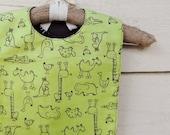 SALE Baby Bib: brown and green animal print