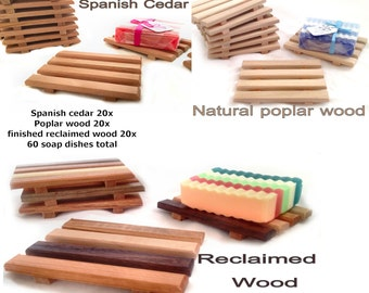 60 soap dishes - 20 each reclaimed wood, natural poplar and aromatic Spanish cedar - Handmade in Portland, OR USA