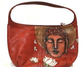 Hand painted Coach handbag - Leather purse -OOAK hand painted handbag-Coach bag- hand painted purse