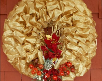 Christmas Holiday Gold Ribbon Wreath Ribbon Bows and Trims Pointsettia Holly berries