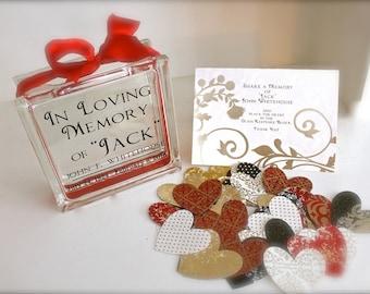 Funeral Guest Book Message Block - Glass Memory Block - Personalized - Paper Hearts in Coordinating Colors  - Wake - Memories - Keepsake